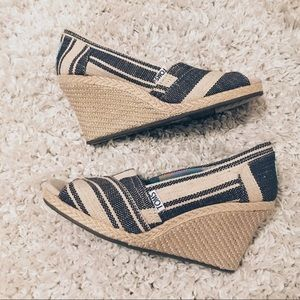 Toms Nautical Stripe Espadrille Wedge